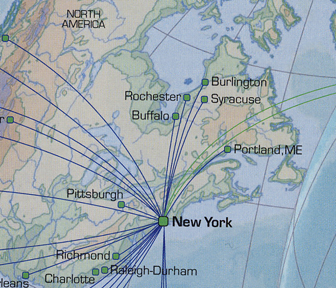 Closeup of Aer Lingus map incorrectly showing upstate New York