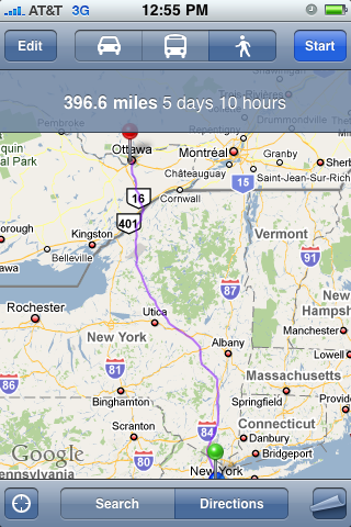 Google Maps Directions: NYC to Ottawa by Foot