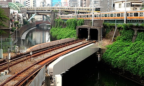 Trains on bridge near Ochanomizu Station
