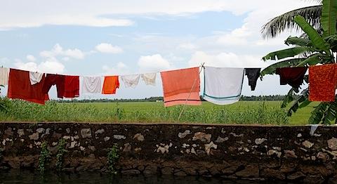Laundry drying in Kerala Backwaters