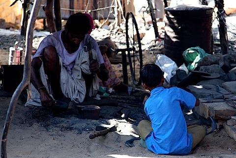 Kid with blacksmith dad