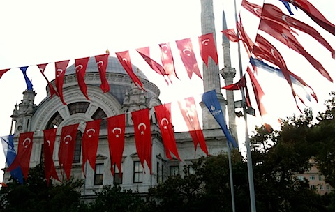 Flags and mosque