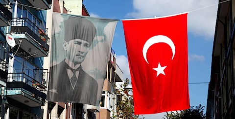 Attaturk sign and Turkish Flag