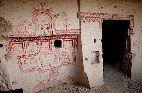 Drawing on Cave Dwellings Near Goreme Open-Air Museum